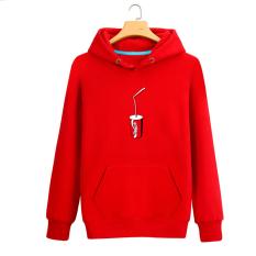 Qiudong Korea Fashion Style ditambah beludru pria berkerudung sweater  (Merah Cola) 7686ec7289