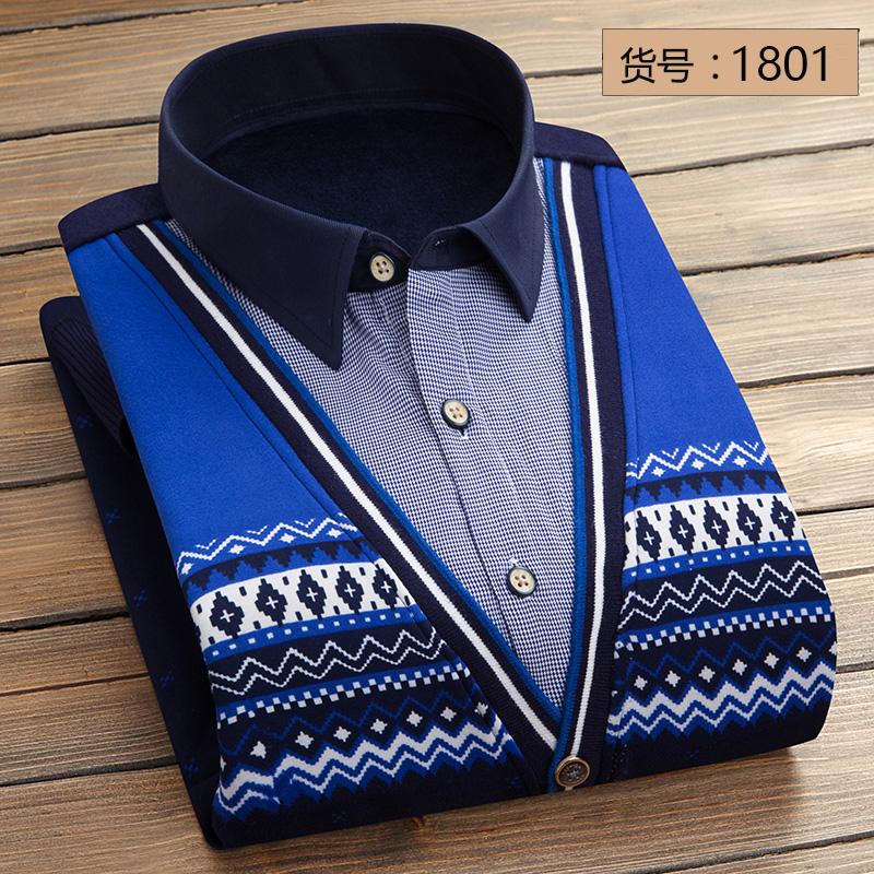 Qiudong Korea Fashion Style ditambah beludru pria kemeja lengan panjang yang hangat baju kemeja (1801