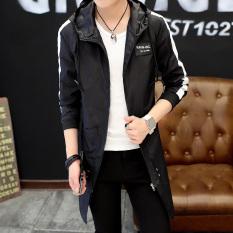 Qiudong Korea Fashion Style ditambah beludru Slim muda yang tampan jaket  mantel tebal (8718 hitam b19ec078eb