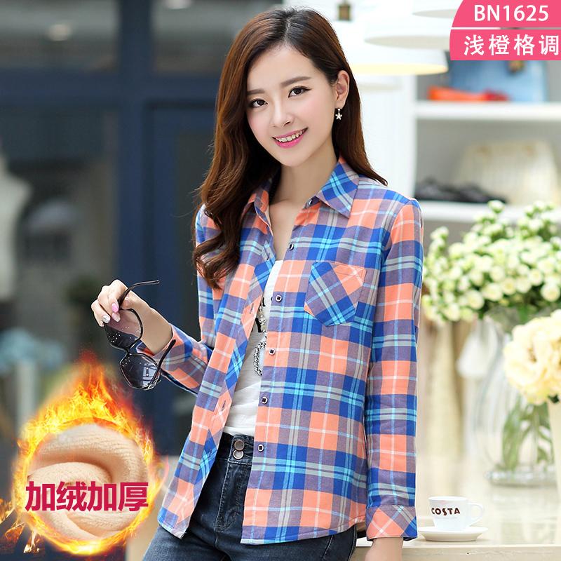 Flash Sale Qiudong Korea Fashion Style kapas perempuan kemeja lengan panjang yang hangat baju kemeja (