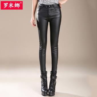 Belanja Terbaik Qiudong Korea Fashion Style pakaian luar yang hangat celana kulit pakaian wanita bottoming celana