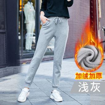 Beli Qiudong Korea Fashion Style siswa angin kasual celana panjang ditambah  beludru celana olahraga (Abu-abu terang model musim dingin ditambah beludru  ... 83c994417f