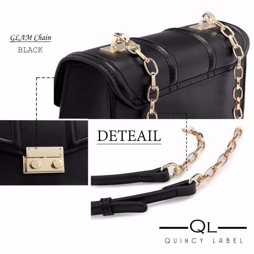 Quincy - GLAM Chain PU Leather Women Bag Import / tas pesta selempang .