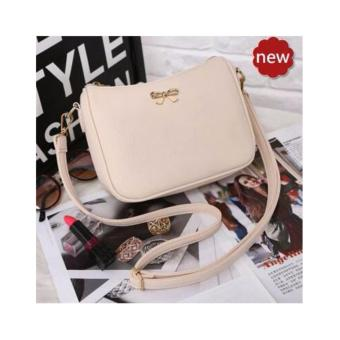 Quincy Label Bow Women Sling Bag / Pu Leather - Cream · >>>>