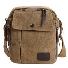 QuincyLabel Men Vintage Canvas Multifunction Travel Satchel / Messenger Shoulder Bag-Coffee