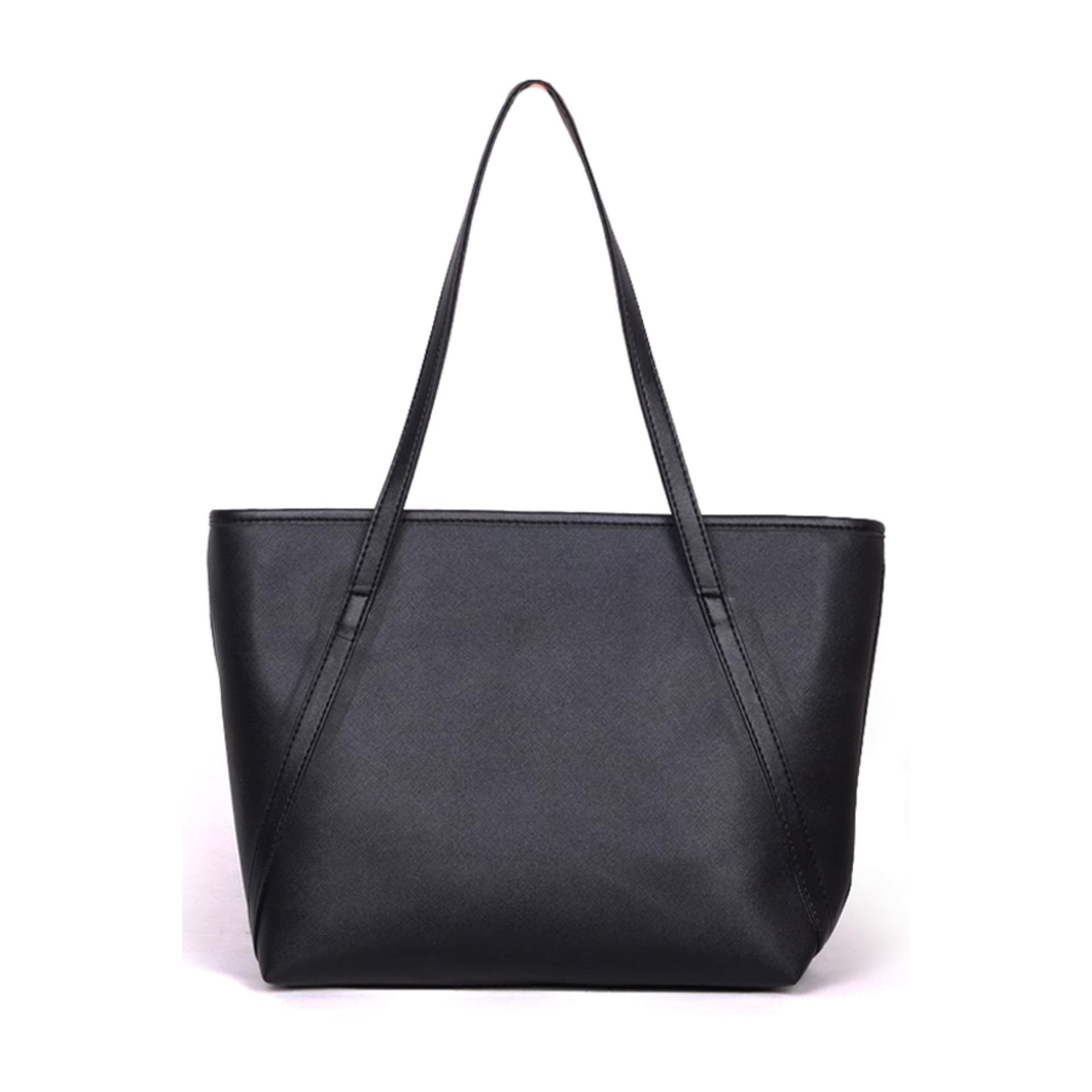 QuincyLabel Tas Wanita Women Fashion PU Tote Leather Handbags Shoulder Bags - Peach