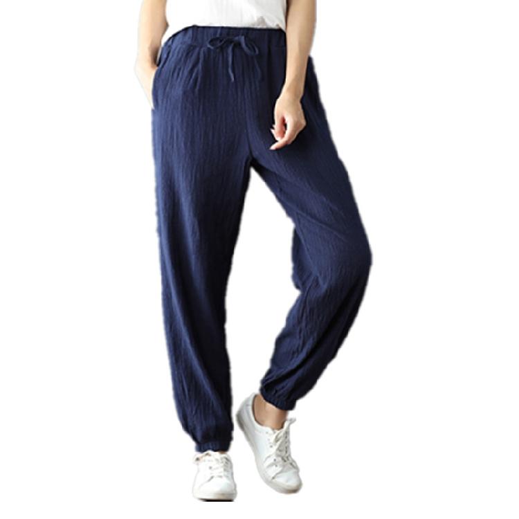 Retro longgar untuk meningkatkan kode pinggang elastis celana celana celana katun celana kasual (Biru tua