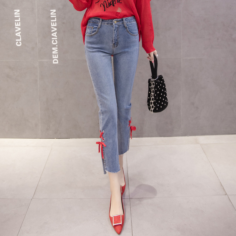 Korean Style Autumn New Irregular Pants Stretch Jeans Hitam Daftar Source · Flash Sale Ribbon autumn