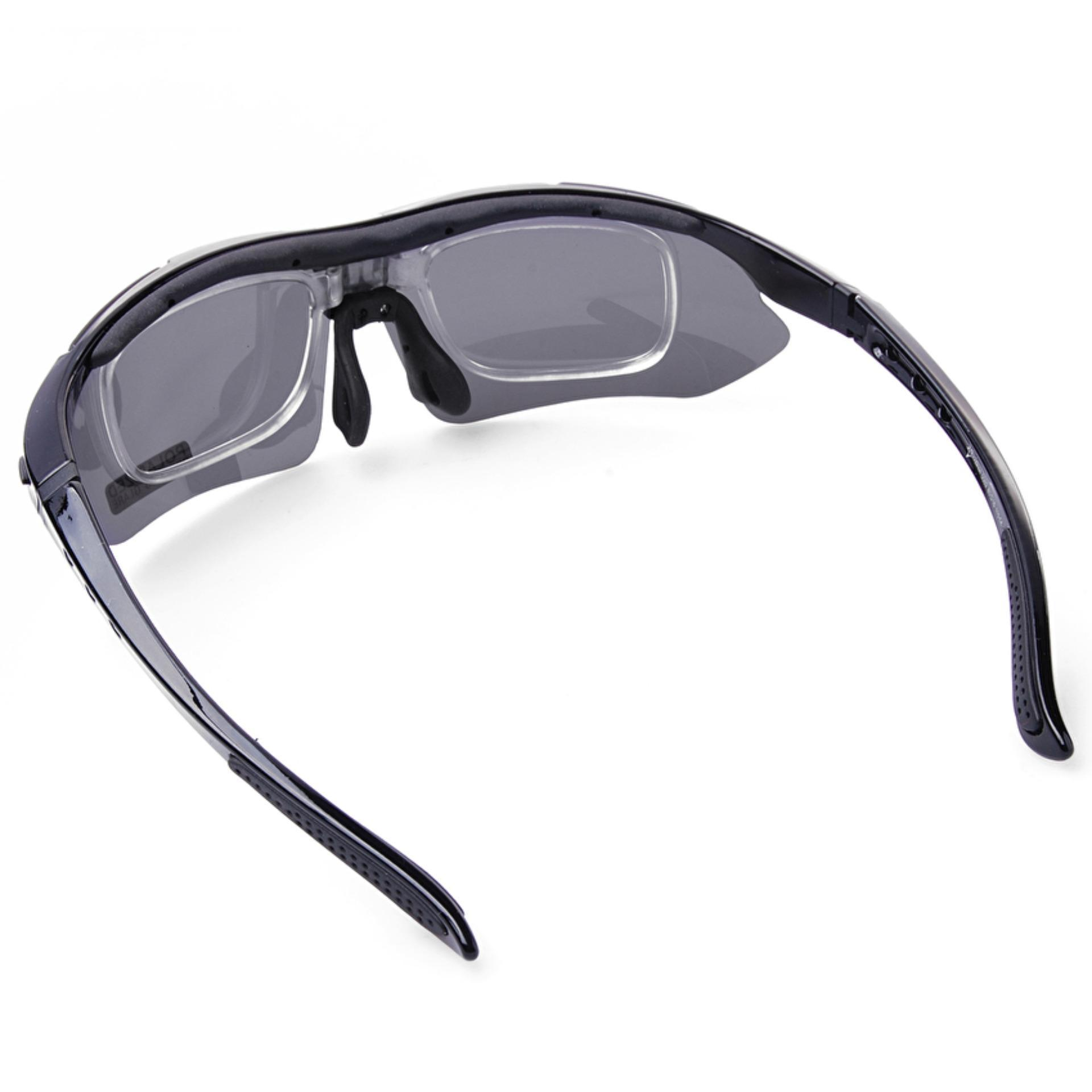 RockBros Polarized Cycling Sports Sunglasses with 5 Pairs of Lenses(Black) - intl ...