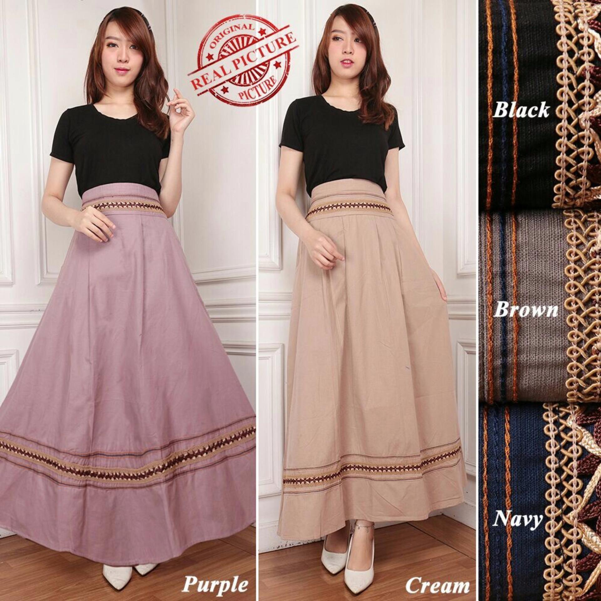 Flash Sale Rok maxi payung panjang wanita jumbo long skirt Chintami - cream