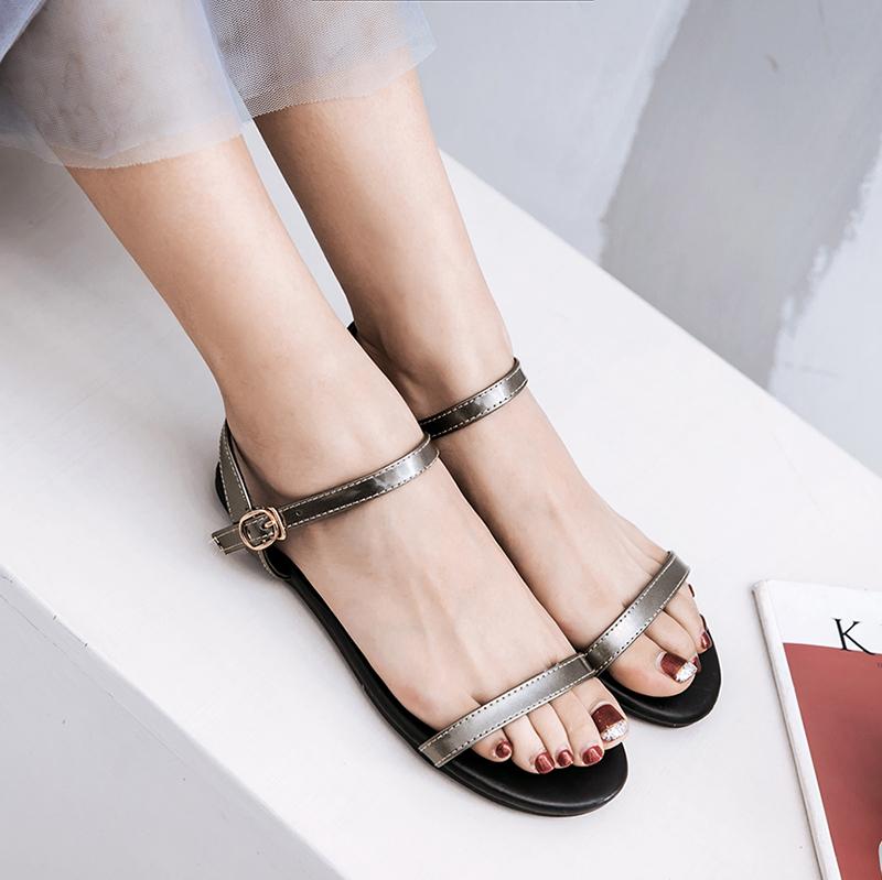 Flash Sale Roma bersol lembut hitam perempuan Sepatu dan sandal (Warna gun)