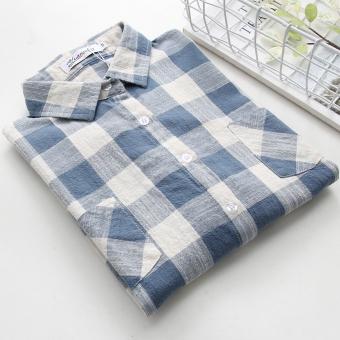 Gambar Rumah Korea bagian tipis dari Musim Semi dan Gugur baru jaket kemeja (Biru kotak