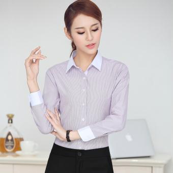 Gambar Rumah Korea katun warna solid perempuan lengan panjang karir overall kemeja putih (Coklat gelap