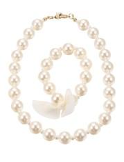 Sales New Astar Kids Little Girl Faux Pearl Necklace Bracelet Set Fashion Jewelry Birthday Gift(Black) - intl