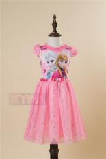 Salju kapas perempuan lengan pendek gaun putri gaun berpayet rok (Berlian jantung merah muda)