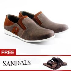 Salvo sepatu denim  SC coklat  free sandal SG01 coklat