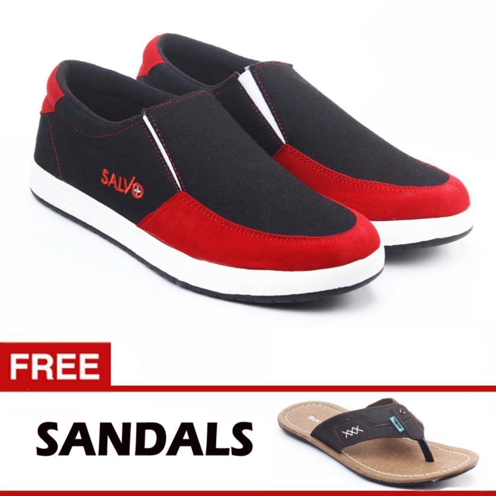 Sale Stock Sepatu Karet Pria Pantofel Kerja Anti Air Hitam Kedap Salvo Slip On A01 Merah Free Zr05