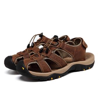 Sandal Pria Terbuat Dari Kulit Asli Tahan Lama Musim Panas PantaiSepatu Datar Slipers Coklat - 5
