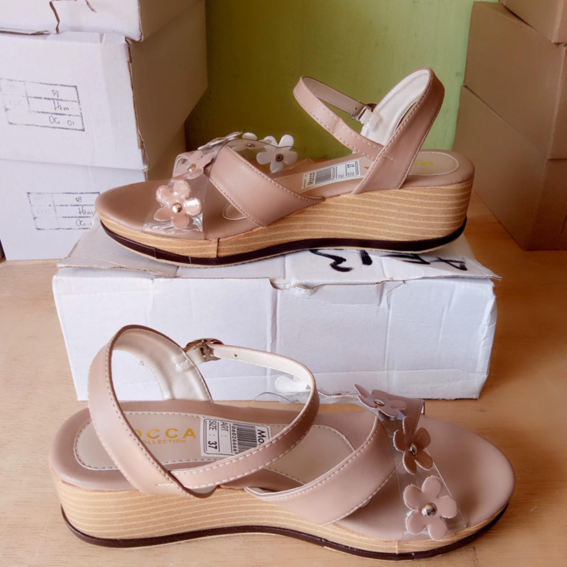 Sandal Wedges Wanita Cewek Murah Model Terbaru Tpn 01 Hak 12cm Hitam Zr01 Tan Sepatu Bunga Af13 Cream