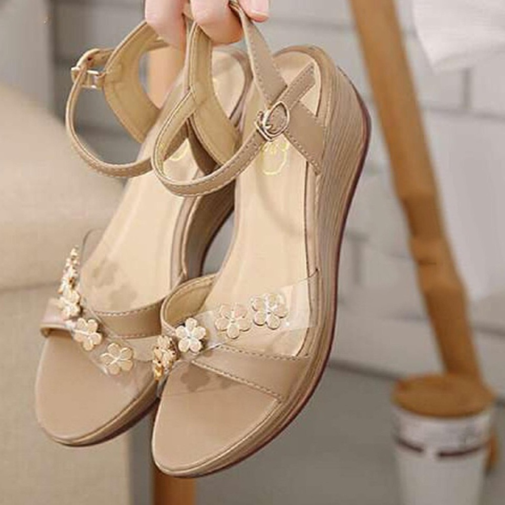 Sandal Sepatu Wanita Wedges Murah Model Terbaru Bunga AF13 Cream .
