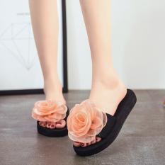 Sandal Slippers Datar Wanita Casual Pita Kupu-Kupu Anti Licin (Emas/bunga besar