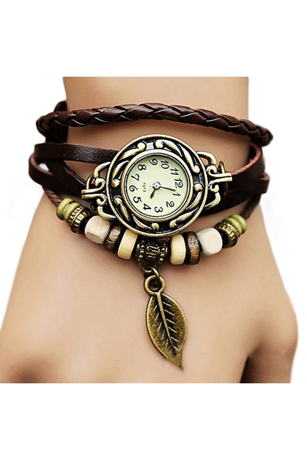 Flash Sale Sanwood(R) Women Coklat Kulit Strap Perhiasan