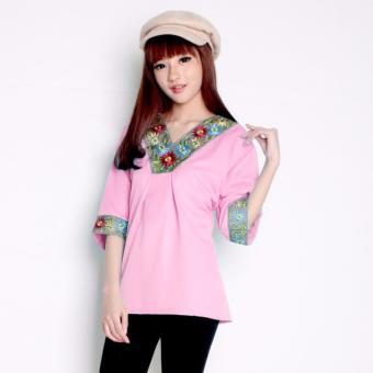 Sb collection Atasan blouse Flower Bordir - Pink - 3 .