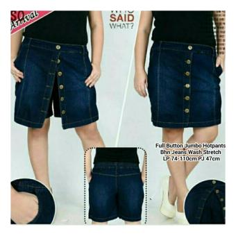 SB Collection Celana Rok Fullbutton Hot Pant Jumbo Jeans-Biru Tua ...
