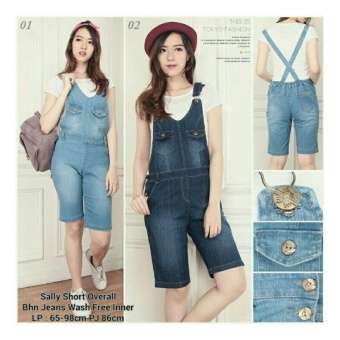 SB Collection Celana Sally Overall Jeans Jumpsuit Pant-Biru Muda