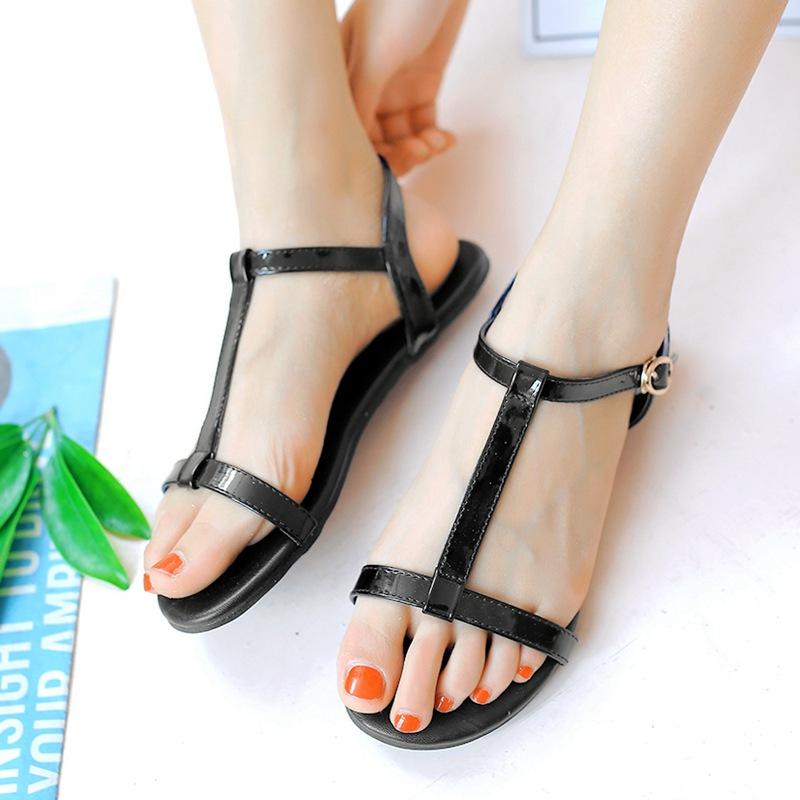 Sederhana hitam bersol lembut sepatu sandal datar siswa (Hitam)