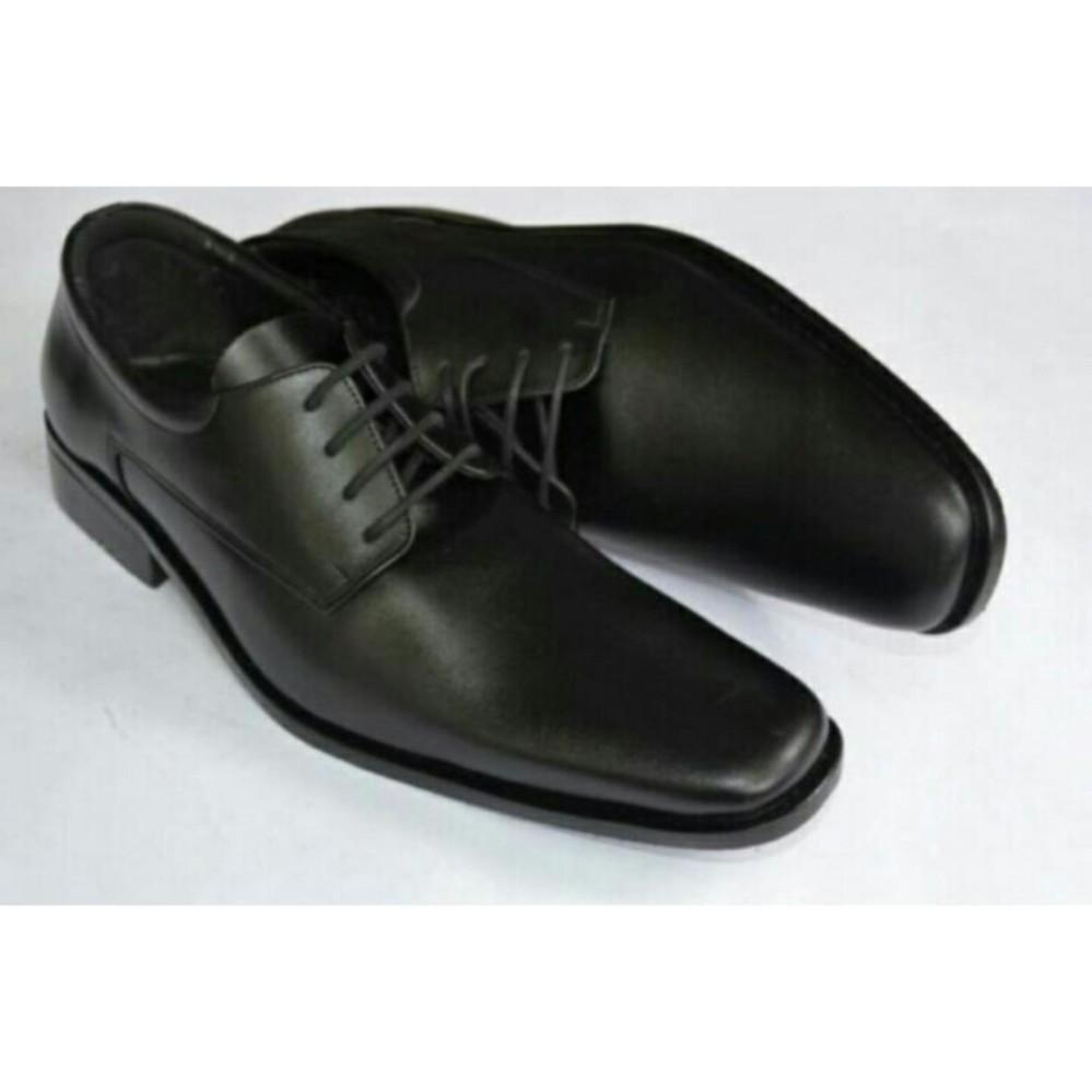 Perawatan mudah Sepatu Kerja Pria Kantor Pantofel Kulit Sintetis Model Tali  - Black f39b8d1211