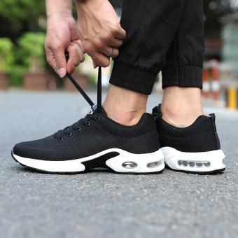 Sepatu olahraga bantalan udara berjalan sepatu pria sepatu sepatu (Hitam)