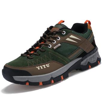 Sepatu Olahraga Pria Sepatu Hiking Sepatu Mendaki Gunung SepatuTrekking Yang Luar Ruangan Hijau
