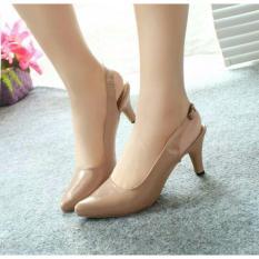 Sepatu Pantofel Slingback Heels Glossy Mocca NFZ-007