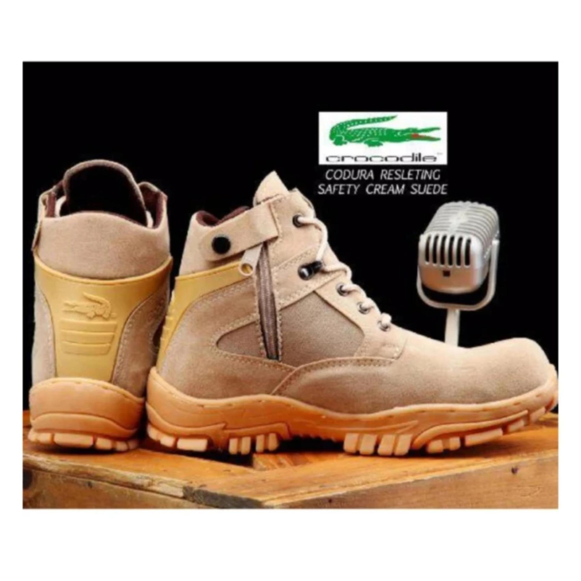 Sepatu Pria Boots Safety Crocodile Cordura Resleting Ujung Besi - Cream  Tulis ulasan untuk produk ini a86d5a5aad