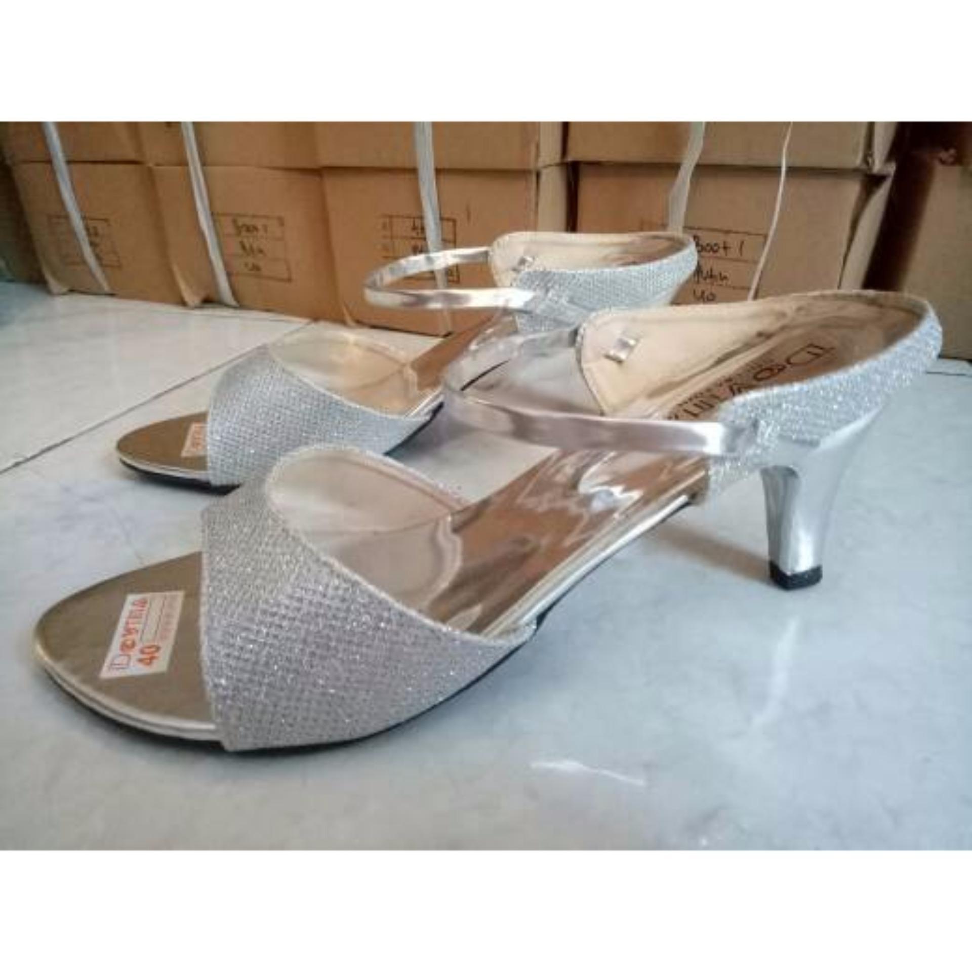 Sepatu Sandal High Heel Wanita Glitter Hak Lancip ...