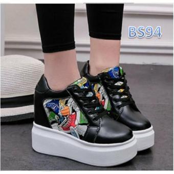 harga Sepatu Sneakers Wedges Wanita Hitam - Lukis BS Lazada.co.id