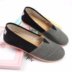Sepatu Wanita Flat Shoes Slip On Kanvas NS71 - Abu