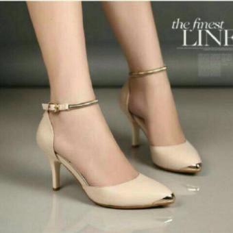 harga sepatu/sendal high heels gelang wanita cream Lazada.co.id