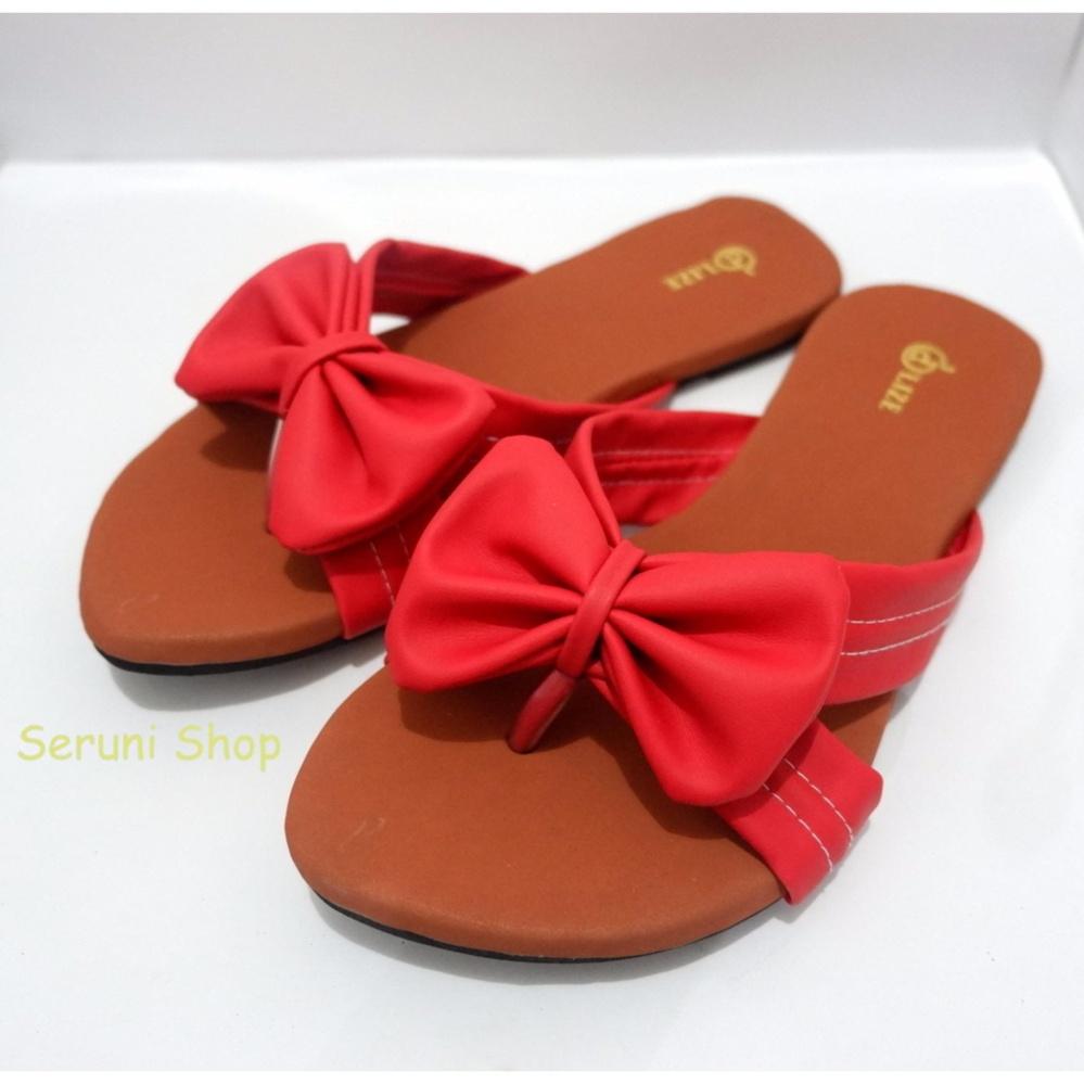 Cantik Seruni Flat Sandals Pita Jepit Merah