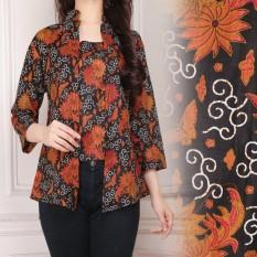 Shining Collection Atasan Blouse Atik Batik Kemeja-Hitam