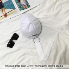 SHININGSTAR Korea Fashion Style musim panas matahari pria dan wanita hoop topi bisbol (Putih)