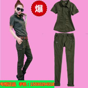 Shishang Hijau Army Slim kamuflase perempuan kemeja kemeja (Jas)