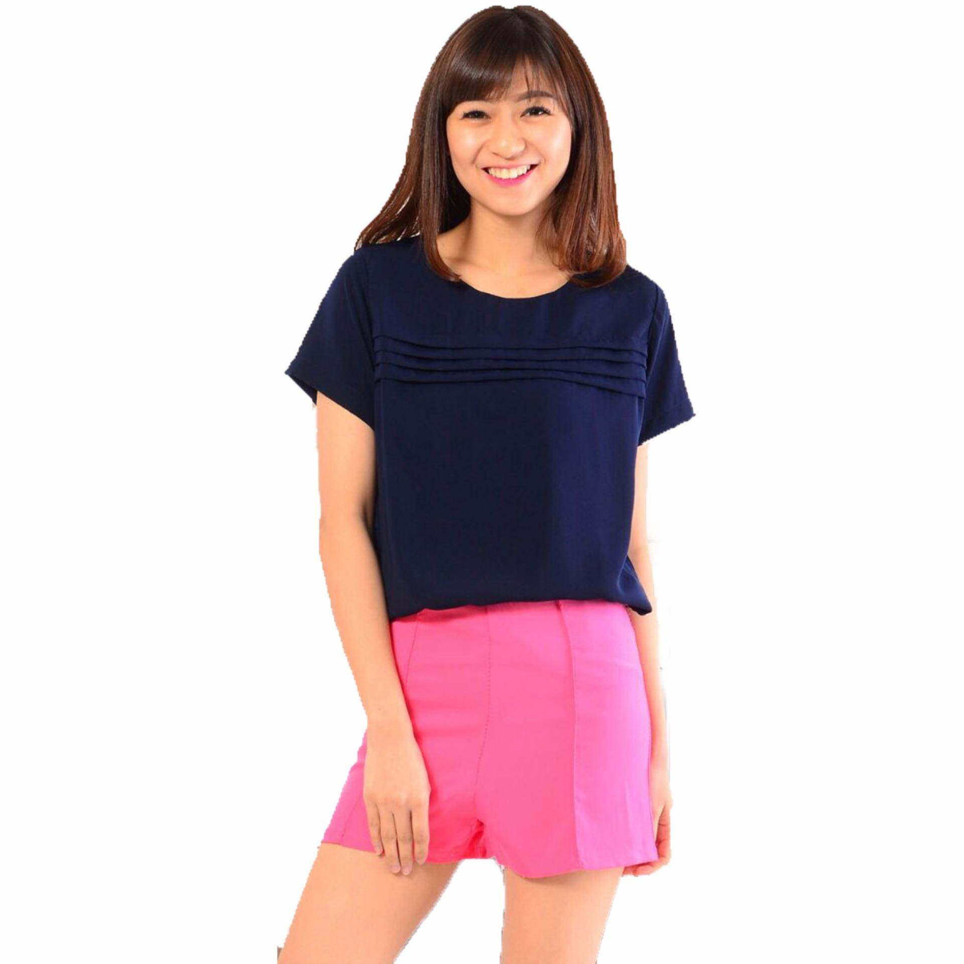 SHOPPAHOLIC SHOP BLOUSE NATASHA NAVY Home Shoppaholic Shop Blouse Natasha Navy .