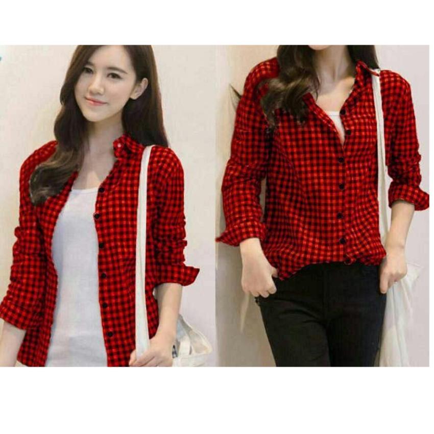 Shoppaholic Shop Kemeja Wanita Kotak - Merah / Baju Wanita / Blouse Korea / Atasan Wanita