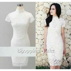 Shopping Yukz Dress Brukat Wanita ELBIE - WHITE / Dress Korea / Dress Renda / Lace Dress / Gaun Pesta / Gaun Midi / Gaun Murah / Gaun Murah / Dress Cewek / Gaun Remaja