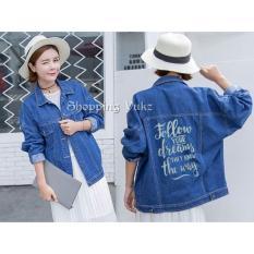 Shopping Yukz Jaket Jeans Big Size Wanita DREAMS - DARK BLUE (Kualitas Premium) / Jaket Jumbo Wanita / Jaket Oversize Wanita / Jaket Denim Oversize / Jaket Denim Cewek / Jaket Remaja