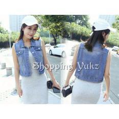 Shopping Yukz Jaket Rompi Jeans Wanita VIAN - DARK BLUE (Kualitas Premium)/ Rompi Denim / Outer Cardigan / Rompi Wanita / Jeans Vest