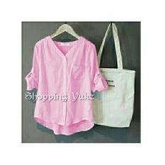 Shopping Yukz Kemeja Wanita Stripe Monalisa - Pink