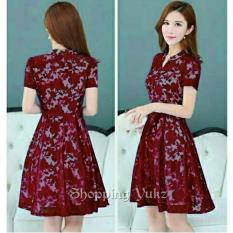 Shopping Yukz Midi Dress Brukat Wanita LILITA - MAROON / Dress Korea / Dress Renda / Lace Dress / Gaun Pesta / Gaun Midi / Dress Pesta / Dress Formal / Gaun Formal